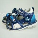 Закрытые сандалии детские босоножки Clibee Клиби, кожаные с закрытой пяткой