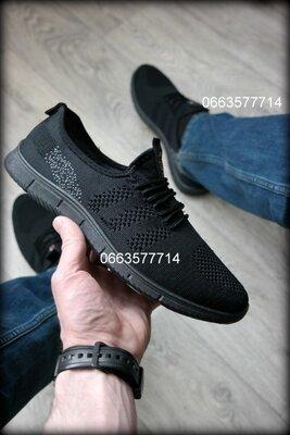 Черные и Синие мужские летние кроссовки чоловічі кросівки , сетка