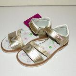 Кожаные босоножки золотые для девочек love 26-31