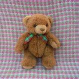 Игрушка мягкая коричневый шарнирный мишка медведь с бантиком, рост 30см