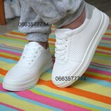 Белые женские кроссовки кеды , білі кеди білі кросівки Супер Якість