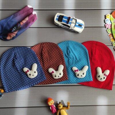 Детские демисезонные шапки до года с зайкой Код Д005