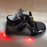 Светящиеся кроссовки на девочку 21-23 р. Шалунишка, кросовки, кросівки, дівчинку, черные, китти