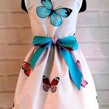 Детское платье с принтом бабочки и двусторонним поясом нежно розовый и голубой 110-140рр