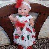 Платье, повязка, туфельки для кукол Беби Борн.