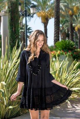 Платье боххо с хлопка INDIANO 2305 Fresh Cotton чёрное