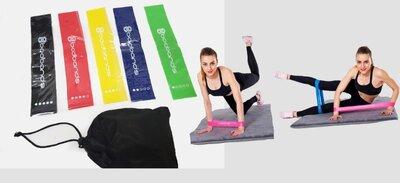 Набор фитнес резинки для фитнеса и спорта из 5 лент и чехла