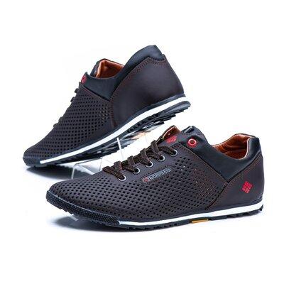 Мужские кожаные летние туфли-кроссовки перфорация коричневые , синие ,бежевые , черные