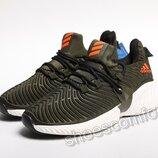 Мужские кроссовки Adidas AlphaBounce Instinct хаки с оранжевым