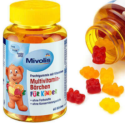 Витамины в таблетках DM Das Gesunde Plus Multivitamin-Barchen Fur Kinder 60 медвежат , Германия