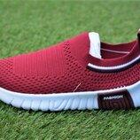 Кроссовки носки детские тканевые Adidas бордовые р31-35
