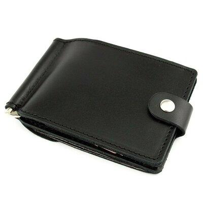 Кожаный зажим для денег Crez-11 с карманом для мелочи черный