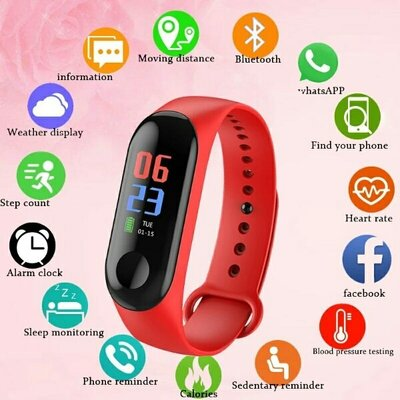 Умный Bluetooth фитнес браслет ремешок красного цвета спорт смарт часы