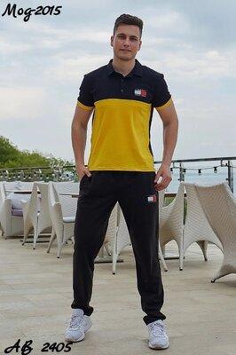 Мужской летний спортивный костюм штаны и футболка поло, реплика Tommy Hilfiger желтый красный синий