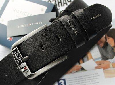 Мужской кожаный ремень для джинсов Tommy Hilfiger черный
