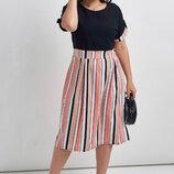Легкое яркое платье контрастные полосы два цвета
