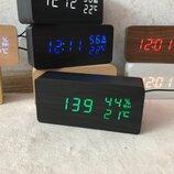 Деревянные часы с термометром гигрометром датой датчик влажности LED Часы оснащены надежным кварцевы