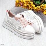 Белые кожаные кроссовки кеды на платформе, кроссовки кожа, білі кросівки 37,38,41р код 6020