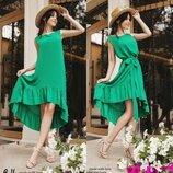 Натаральное Летнее Платье- сарафан с оборкой Зелёного цвета