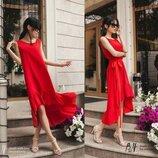 Натуральное Летнее Платье-Сарафан с оборкой красного цвета