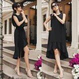Натуральное Летнее Платье-Сарафан с оборкой Чёрного цвета