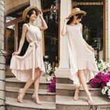 Натуральное Летнее Платье-Сарафан с оборкой Бежевого цвета