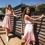 Летнее Шелковое платье- сарафан в Пудровой расцветке
