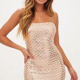 платье в паетки розовое золото металлик. как asos,