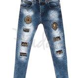 1104 Charj джинсы мужские с царапками синие весенние стрейчевые размер 29-36