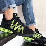 Nike Shox Gravity кроссовки мужские демисезонные черные с салатовым 9298