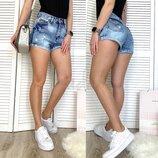 Шорты джинсовые женские с рванкой синие коттоновые размер 25-30 0040-15 A Relucky Н