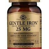 Solgar Gentle Iron. Железо мягкое хелатное 25 mg, 90 и 180 шт. Сша