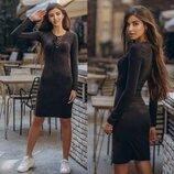 Замшевое Платье за колено с завязками на груди в черном цвете