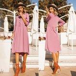 Летнее Натуральное платье розово- свекольного цвета