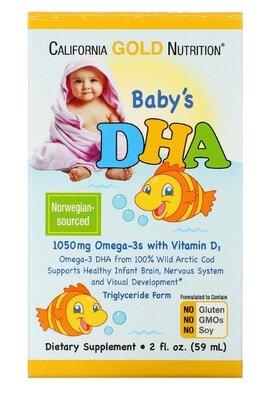 California Gold Nutrition, Дгк для детей, 1050 мг, Омега-3 с витамином D3