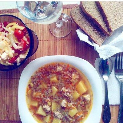 Домашний гречневый суп с мясом 3л