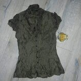 36-38/XS-S Zara , шелковая оливковая блуза, цвет хаки,натуральный шелк