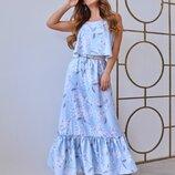 Длинный сарафан с воланами, женское длинное платье, жіноча сукня, довге плаття