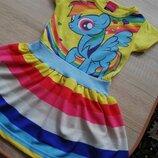 2-3 Красивое платье My little pony с Рейнбоу Деш Радуга Дэш