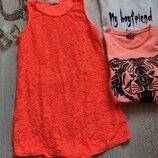 Цветное оранжевое неон короткое ажурное платье сарафан с гипюра стрейч батал большой размер