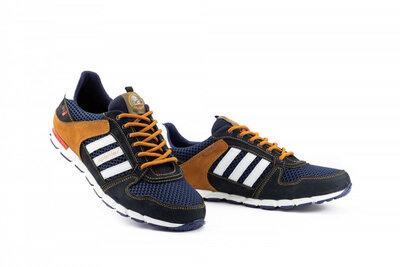Мужские кроссовки текстильные летние синие-коричневые Splinter