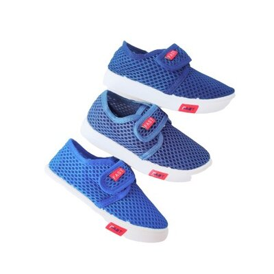 Сетчатые синие кеды мокасины мальчикам, размеры с 21 по 35