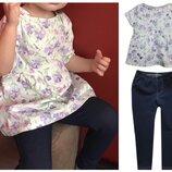 Комплект. джеггинсы-лосины и блуза-туника от more kids 74-80-86-92