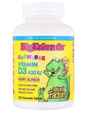 Natural Factors. Жевательный витамин D3 с ягодным вкусом, 250 шт. Сша