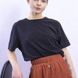 Черная футболка женская, базовая футболка однотонная, свободная футболка черная