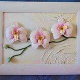 Картина из кожи Орхидеи, подарок на юбилей, подарок на кожаную свадьбу