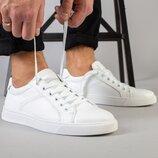 Белые кожаные кеды мужские