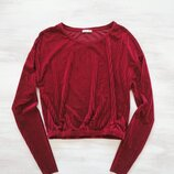 Свитшот Zara в рубчик из велюра/бархата, по низу резинка, оверсайз, кроп