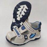 Детские босоножки сандалии для мальчика бежевые кожа 26,27,28,29,30,31Clibee 258