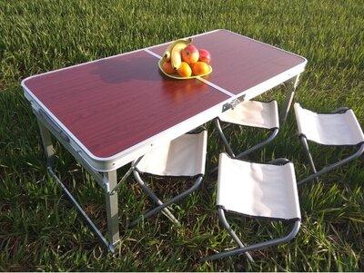 Складной стол RAINBERG RB-9301 4 стула в чемодане 1200х600 Усиленный